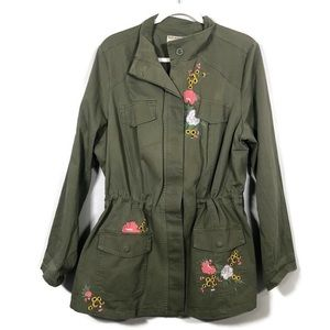 Ruff Hewn Floral Embroidered Green Military Jacket